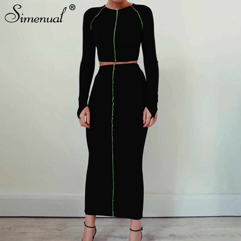 Simenual Striped Casual Fashion Women Co-ord Set Autumn Skinny Basic Slim Two Piece Outfits Long Sleeve Crop Top And Skirt Sets