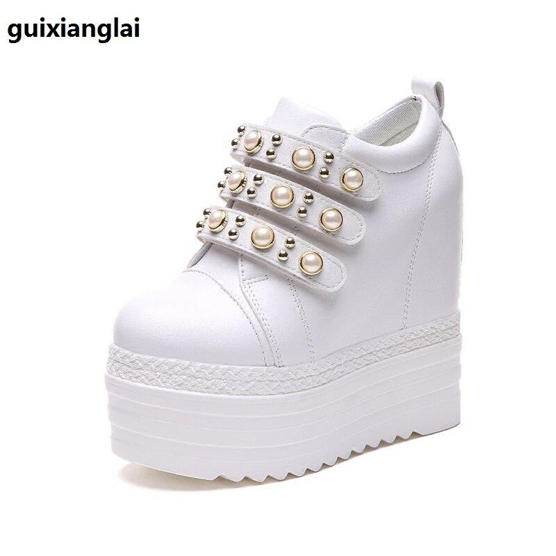 Automne 2019 nouvelles chaussures pour femmes étudiantes à semelle épaisse perle Baitie 12cm chaussures pour femmes coréennes à talons hauts à talons hauts