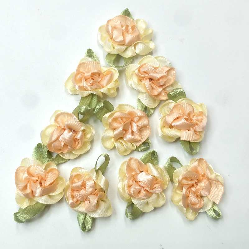 40pcs pink color ribbon flowers with leaf handmade apparel sewing appliques DIY accessories A579