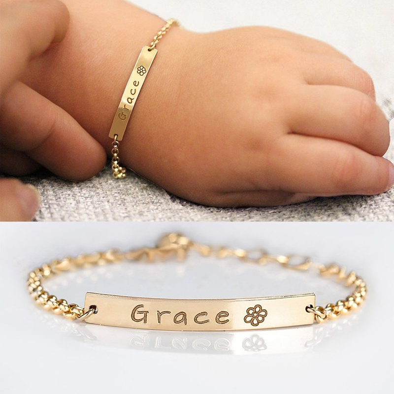 Baby Boy Girl Personalised Name Day Christening Bracelet with Engraved Charm