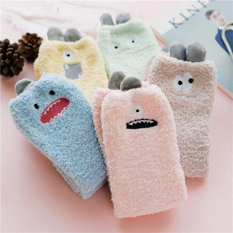 SP&CITY Cartoon Little Cute Monsters Harajuku Socks Thickened Comfortable Coral Velvet Women Socks Home Indoor Floor Sox Casual
