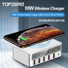 10W QI Wireless Charger 6 Ports LED Display 40W Fast usb c Charger Quick Charge 3.0 Wireless Charging for iphone 12 Pro xiaomi