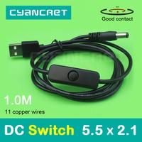 USB a DC de Cable de alimentación con interruptor, 5,5x2,1mm, 1,0 M, 1A, compatible con conector de cargador de 5V, 9V o 12V, para enrutador, decodificador, lámpara de mesa, MP4