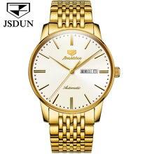 JSDUN-Men's Stainless Steel Automatic Mechanical Watch, Tungsten Steel Material, Waterproof, Luminous, Japanese Luxury Movement,