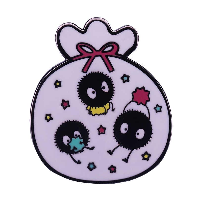 Soot Sprite Magic Bags Enamel Pin Rainbow Stars Brooch Spirited Away Badge Anime Jewelry Cute Ghost Pins Halloween Accessory Gif Brooches Aliexpress