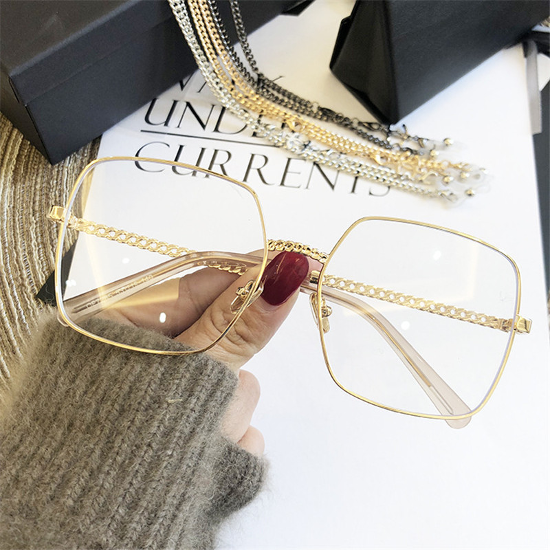 2019 Women Glasses Frames Female Fashion Gold Silver Color Sunglasses Anti-blue Light Flat Mirror Eyeglasses Armacao De Oculos