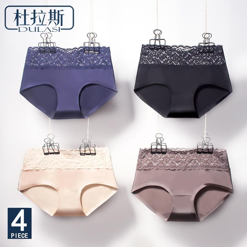 DULASI Sexy Silk Panties Women Underwear Seamless Lace Cotton Mid-Rise Cute Briefs For Girls Ladies Bikini Erotic Panty 4pcs/lot