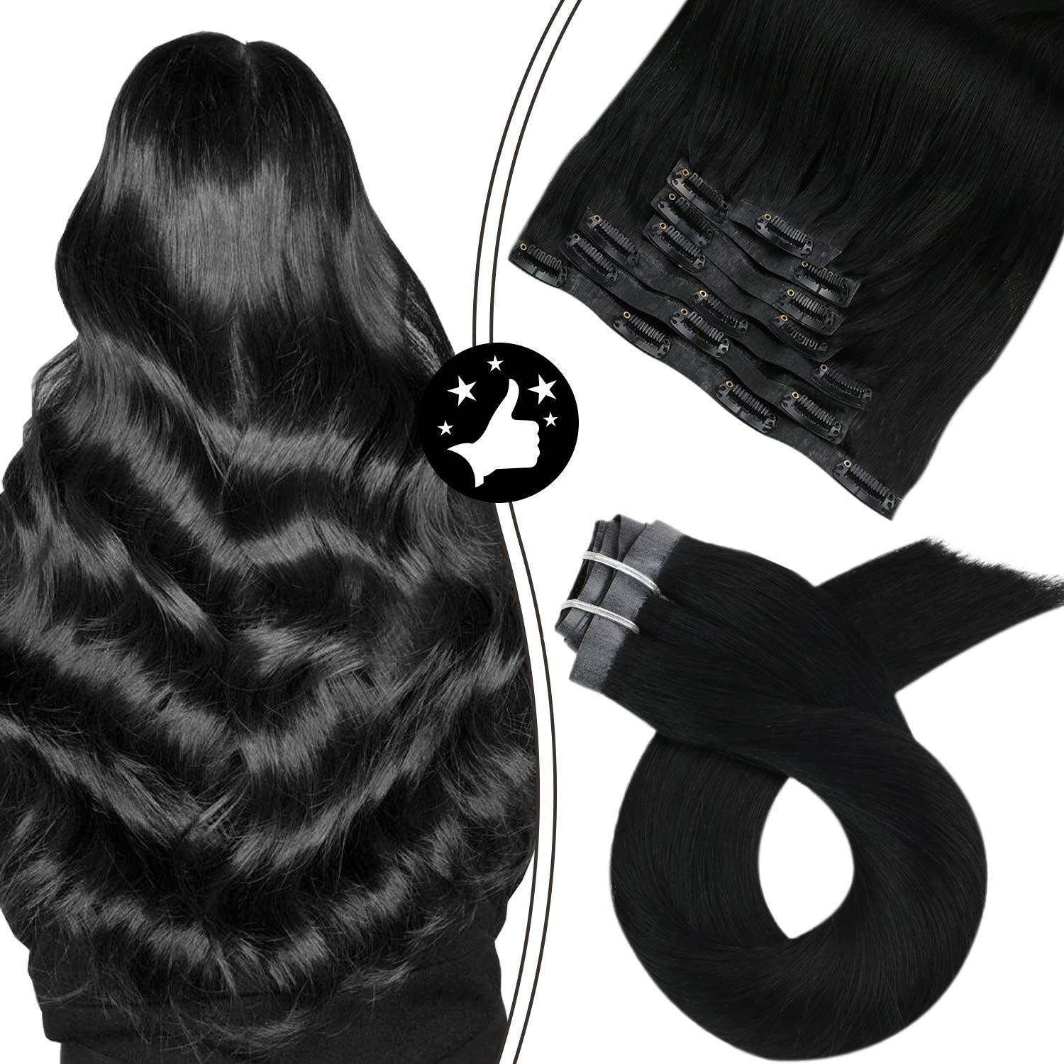 Seamless Clip in Hair Extensions Thick PU Machine Remy Hair #1 Jet Black 100% Real Human Hair 7pcs 100g Natural Straight