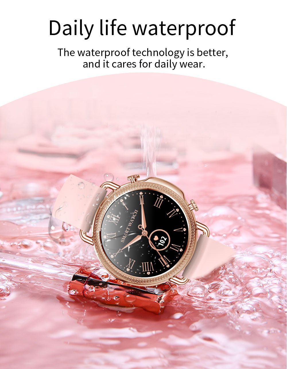 H42362cfbe8d04e15a64bc3f4732d4f69h 2021 Women Smart Watch 1.28 inch HD Screen IP67 Waterproof Lady's Watches Body Temperature Heart Rate Monitor PK V23