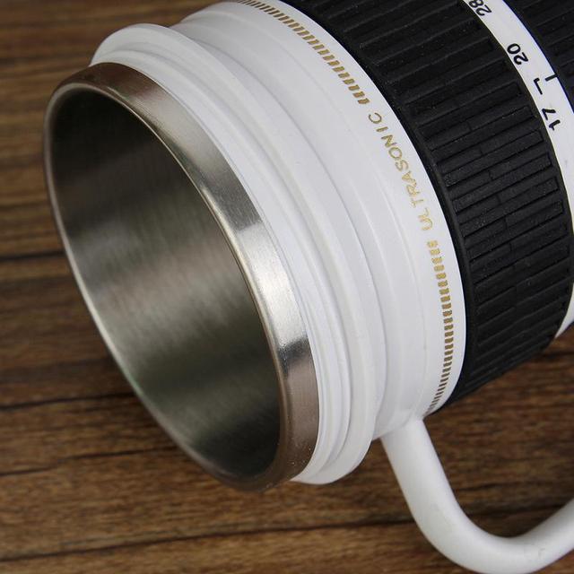 Creative Drinkware Cute Cup Stainless Steel Camera Lens Shaped Mugs Coffee Mugs Tea Cup Travel Vacuum Flasks With Lid Gift 3