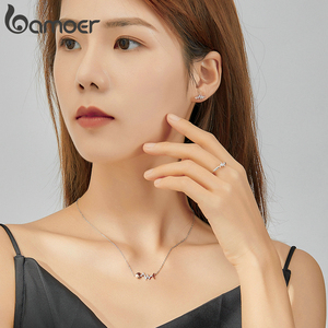 Image 5 - bamoer Real 925 Sterling Silver Fish Bone with Heartbeat Rose Gold Color Necklace Ring and Stud Earrings for Women ZHS185
