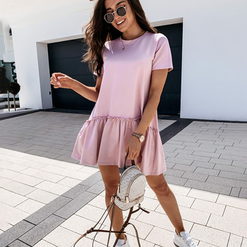 Loose Casual Short Sleeve Mini Dress Women 2021 Summer O-neck White Black Ruffles Big Hem Beach Dresses For Woman Femme Robe 2