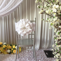 Hot Sale 50pcs or 100pcs White Pink Miracle Taffeta Big Flower With Brooch Spandex Chair Band for Wedding Party