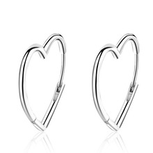 Trendy Women 925 Silver Smooth Lovely Heart Shape Hoop Earring For Girls Beautiful Huggie Cuff Earrings Female Korea Jewelry