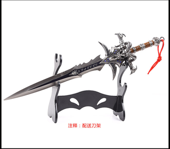 30CM High Quality Alloy Frostmourne Sword Inlaid Blue Diamond, WOW Lich King Arthas Weapon Model with Tool Carrier 2019 Hot