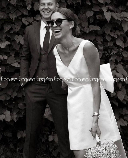 Simple Short Wedding Dresses 2021 Satin V Neck Bride Dress Big Bow on Back White Vestido De Novia Plus Size 4