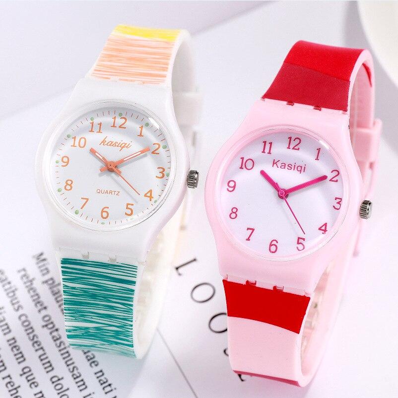 New Fashion Watch Women Geneva Silicone Watch Kids Watches Girls Colorful Quartz Wristwatches Children Clock Zegarek Dla Dzieci