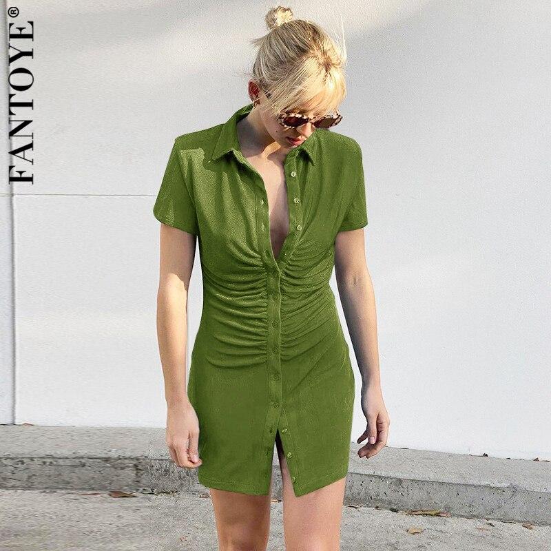 Женское платье-рубашка с отложным воротником Fantoye, элегантное облегающее мини-платье с коротким рукавом и рюшами, модель 2021 года