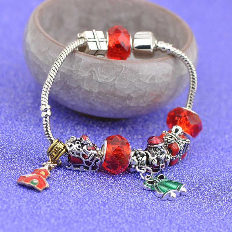 Czerwony emalia boże narodzenie styl święty mikołaj prezent pudełko koraliki Fit europa oryginalna bransoletka Xmas dom dzwon dynda DIY Charms Kid biżuteria