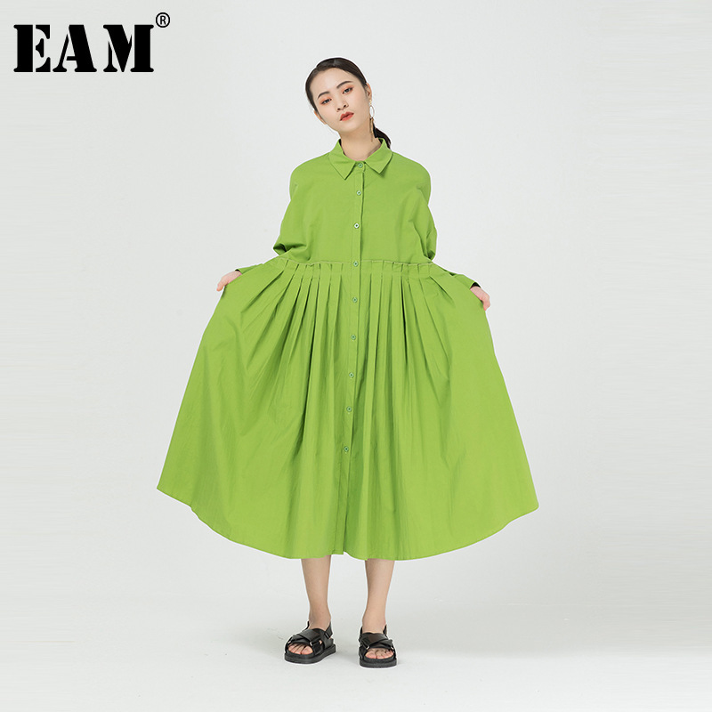 [EAM] Women Green Pleated Split Joint Big Size Shirt Dress New Lapel Long Sleeve Loose Fit Fashion Tide Spring Autumn 2020 1R845