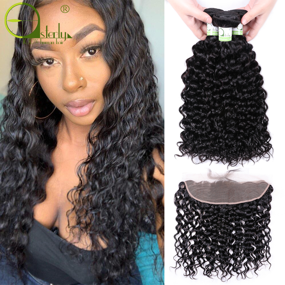 H4236884b793a4360a6fb1079a93bd87e4 Sterly Water Wave Bundles With Frontal Closure 13x4 Lace Frontal With Bundles Remy Brazilian Hair Weave Bundles