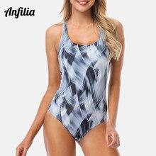 цена на Anfilia Women One Piece Sports Swimwear Watercolor Pinted Sports Swimsuit Cutout Sexy Colorblock Bodysuit Fitness Monokini