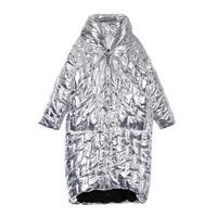 Winter Long Coat Women Fashion Glossy Metal Silver Black Zip Oversized Jacket Warm Cotton Padded Hodded Parka Irregular Outwear