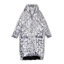 Zima długi płaszcz kobiety moda błyszczący metal srebrny czarny Zip obszerna kurtka ciepłe bawełny wyściełane z kapturem Parka kurtka o nieregularnym kroju