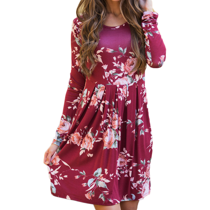 Casual Loose 2019 Sleeve Women Dress New Boho Floral Print Party Mini Dress Fashion Ladies Clothes O-neck Summer Beach Dresses