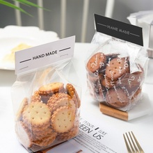 LBSISI Life 50pcs Hand Made Candy Cookie Bags Wedding Self Stand Biscuit Chocolate DIY Custom Baking Bag With Card Bottom