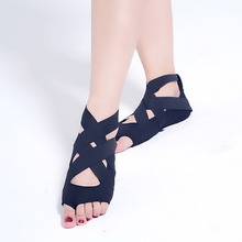 Womens cotton Yoga Socks Silicone Bandage Shoes Backless Anti-slip Training Dance M17