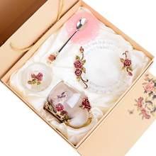 Tasse en cristal émaillé faite à la main, tasse à café en verre, boîte-cadeau, tasse de thé et de haute qualité, pour Couple, cadeau de mariage pour amoureux