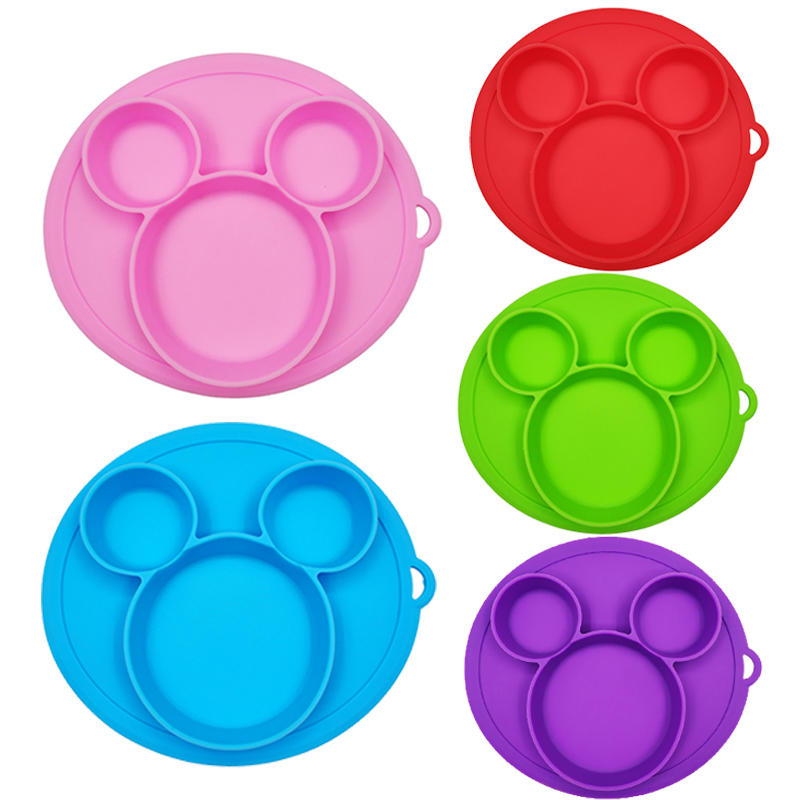 Baby Safe Silicone Dining Plates Cartoon Children Dishes With Strong Suction Toddler Training Tableware Kids Feeding Food Bowls