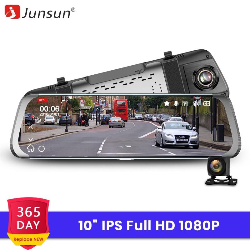 10/'/' Junsun Dual Lens FHD 1080P Dash Cam Car DVR Rearview Mirror Backup Camera