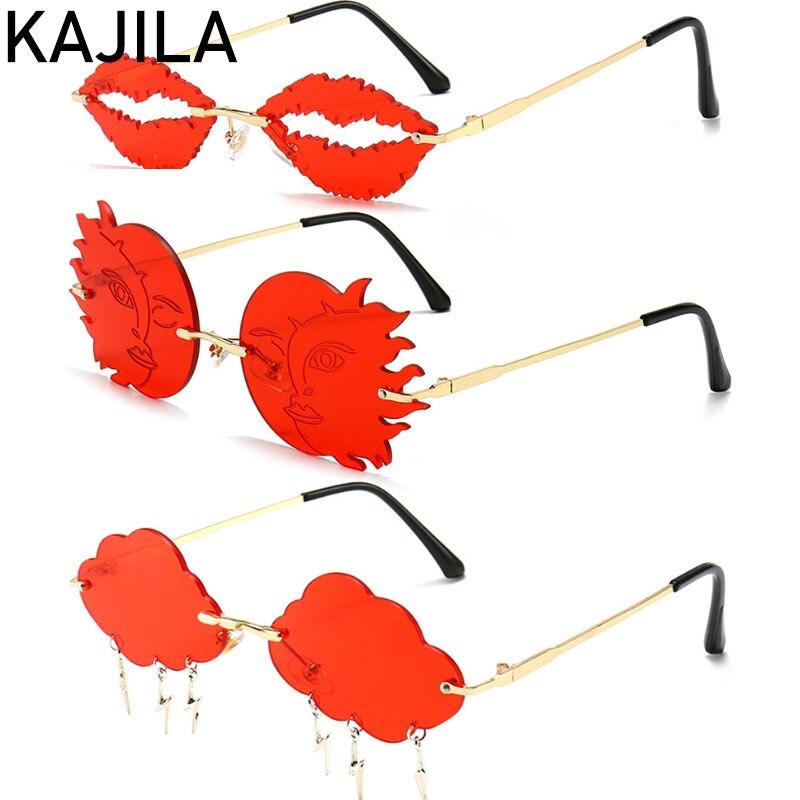 Vintage lèvres sans monture lunettes De soleil femmes 2020 marque De luxe drôle fête lune Smiley sans cadre lunettes De soleil pour femme Gafas De Sol