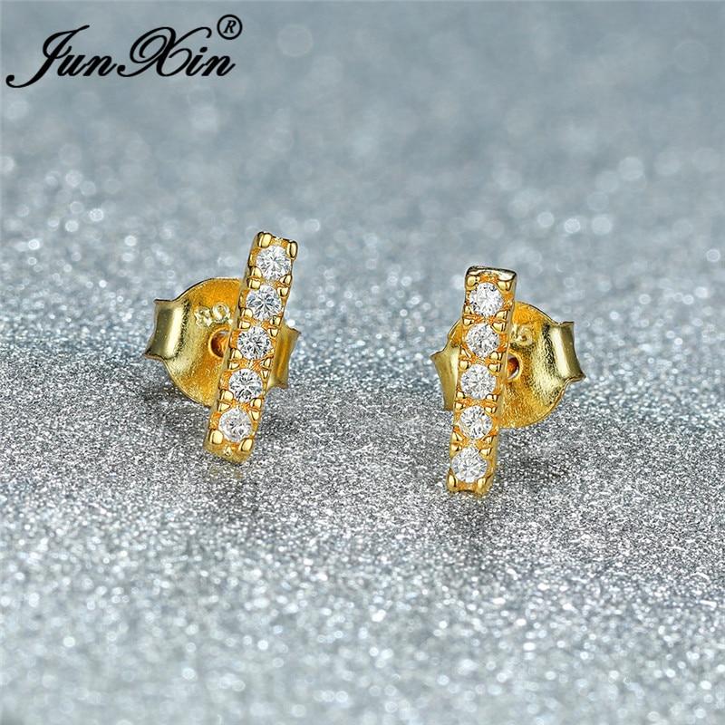 Female Crystal White Gold Filled Gold Bar Stud Earrings For Women Small White Zircon Double Earrings Female Wedding Ear Studs