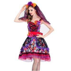 Image 4 - Traje de cosplay de caveira zumbi, fantasia mexicana do dia das bruxas, dia das bruxas, carnaval, festa, flor, fantasma, vestido de noiva