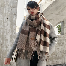Korean Top Quality plaid tassel winter scarf women long cashmere-like warm thick for ponchos laides scarves shawl