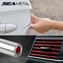 Car Styling Mouldings Strip Plating Auto Air Outlet Trim Strips Car Interior DIY Decoration Strip Car Door Anti Sratch Sticker auto body outlet air conditioner automobile decorative chromium car styling sticker strip 11 12 13 14 15 16 17 for bmw 5 series