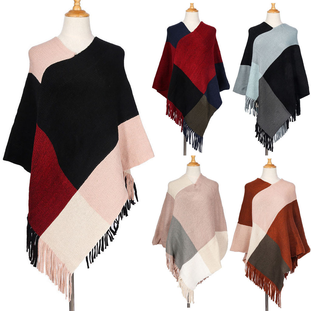 Poncho Women   Scarf   Long Tassel Winter Wool Blend Soft Warm   Scarf     Wrap   Shawl Plaid Blanket   Scarves   Women 2019 Sjaal Foulard Soie