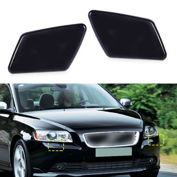 Flap Bumper Headlight cover Washer Left Nozzle 1pair Plastic Black Trim For VOLVO S40 V50 05-07 image