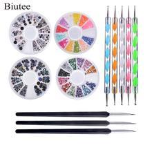 Biutee 12pcs Pro Nail Art Set Kit 4 wheels Multicolor bright nails woo
