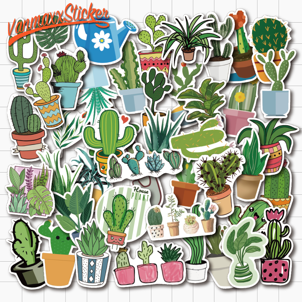 VANMAXX 45 PCS Lovely Potted Plant Cartoon Stickers Waterproof PVC Decal For Laptop Helmet Bicycle Luggage Guitar Kids Sticker