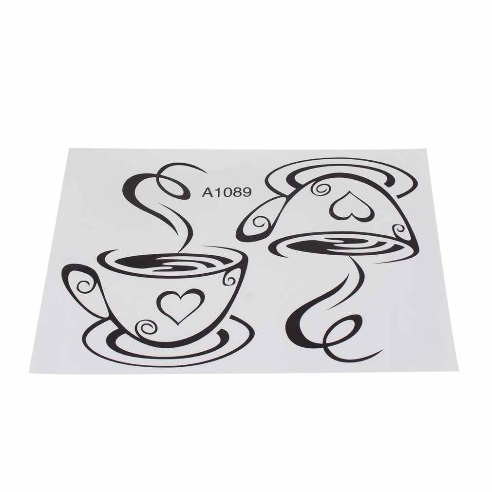 Новый дизайн наклейки пара кофейные чашки, настенные наклейки в форме сердца виниловая наклейка на стену для столовой съемное украшение кафе