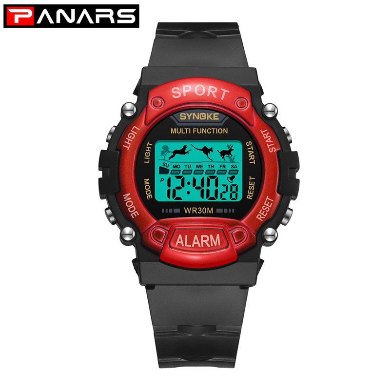 PANARS Children Digital Wrist Watch Sports Boys Girls Silicone Strap Waterproof Kids Holiday Gift Weekly Alarm Luminous Clock