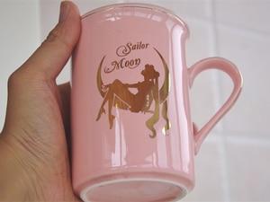 Image 3 - Anime Sailor Moon Pink Bone China Coffee Mug Tsukino Usagi Ceramic Mugs Cup Set Cup with Cover and Spoon Girls Christmas Gift