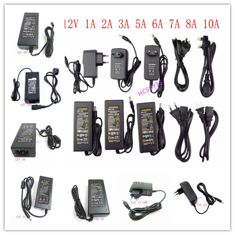 LED Power Supply 12V 1A 2A 3A 5A 6A 7A 8A 10A For 12V Led Strip Light Led Power Driver US/EU/UK/EU Plug 12W/24W/60W/100W/120W