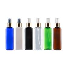 100ml Bottiglie di Plastica Trasparente Quadrato Vuoto Oro di Alluminio Spruzzatore 100cc Contenitori Cosmetici Bottiglia di Profumo Con Pompa A Spruzzo