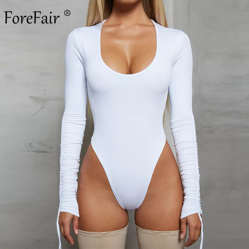 Forefair Sexy Bodysuit Long Sleeve Bodycon White Black Khaki Body Tops Ruched Low Neck Tied 2019 Autumn Winter Bodysuit Women