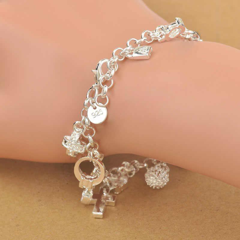 מהודר למעלה איכות 100% 925 סטרלינג כסף קסם תליוני אישה צמיד, נחמד צלב ירח לב שעון תליון תכשיטים